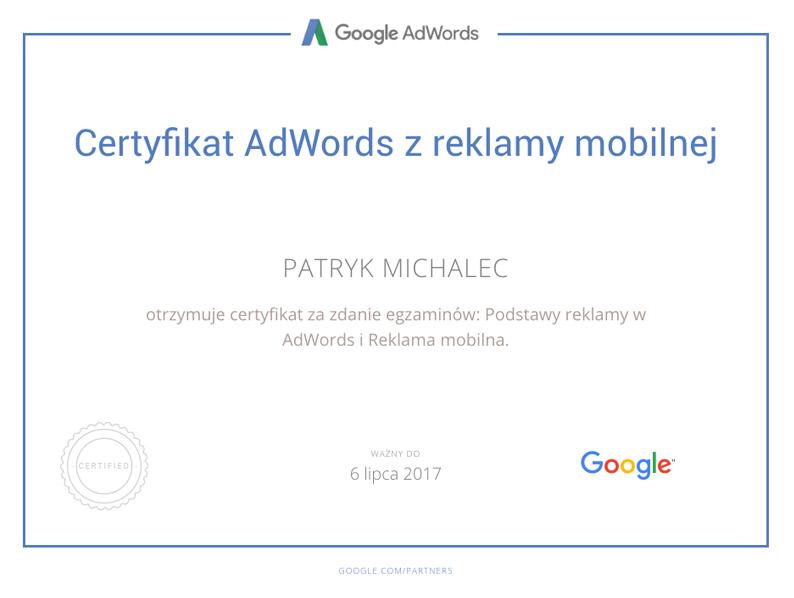 Certyfikat Reklama mobilna PM