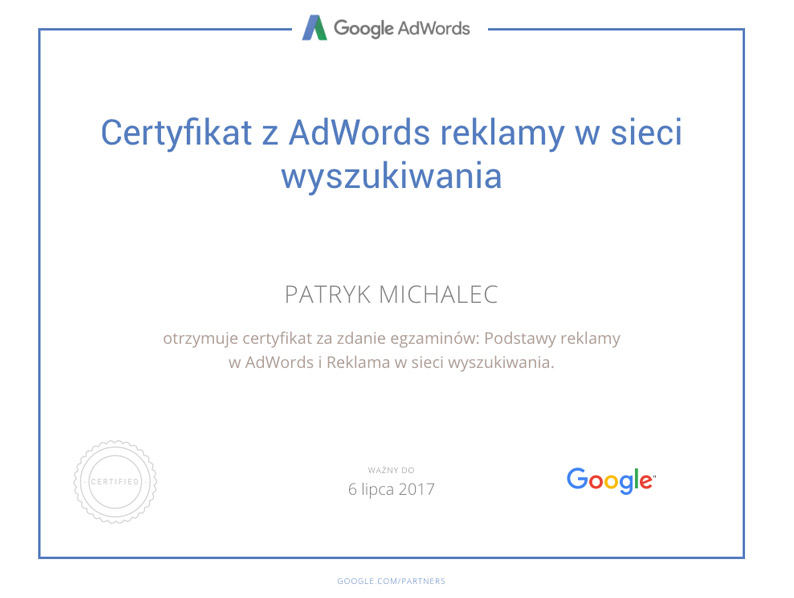 Certyfikat Sieć wyszukiwania PM