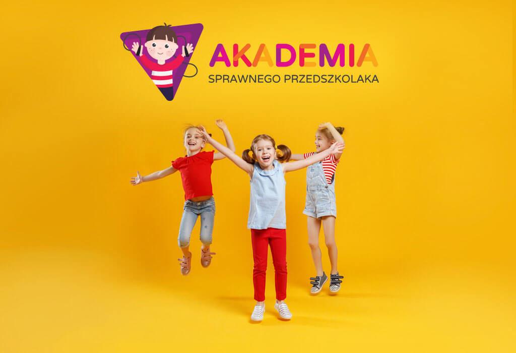 akademia sprawnego przedszkolaka wizualizacja logo cieszące się dzieci