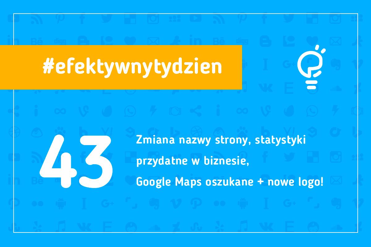 #efektywnytydzien 43 Zmiana nazwy strony, statystyki przydatne w biznesie, google maps oszukane + nowe logo! Marketing