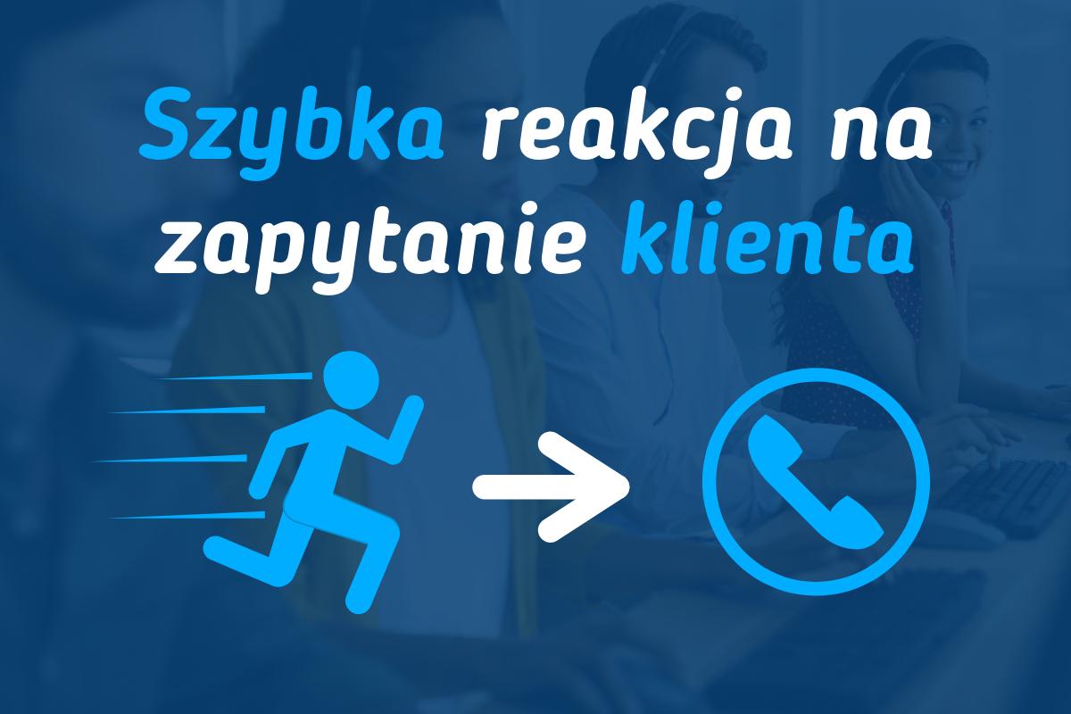 Szybka reakcja na zapytanie klienta. Obraz przedstawiający biegnącą osobę do telefonu.